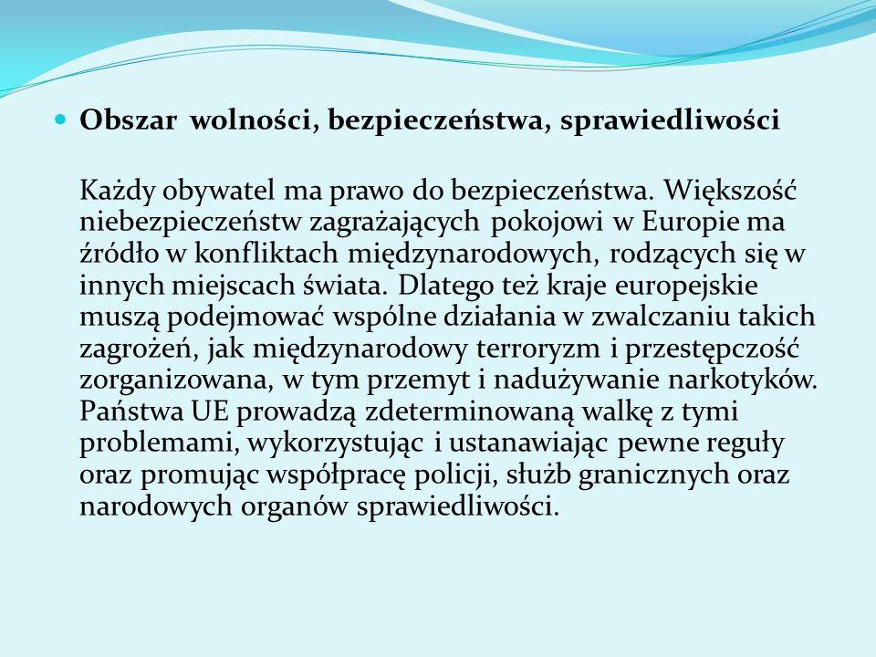 Obszar wolności, bezpieczeństwa, sprawiedliwości Każdy obywatel ma prawo do bezpieczeństwa. Większość niebezpieczeństw zagrażających pokojowi w Europi