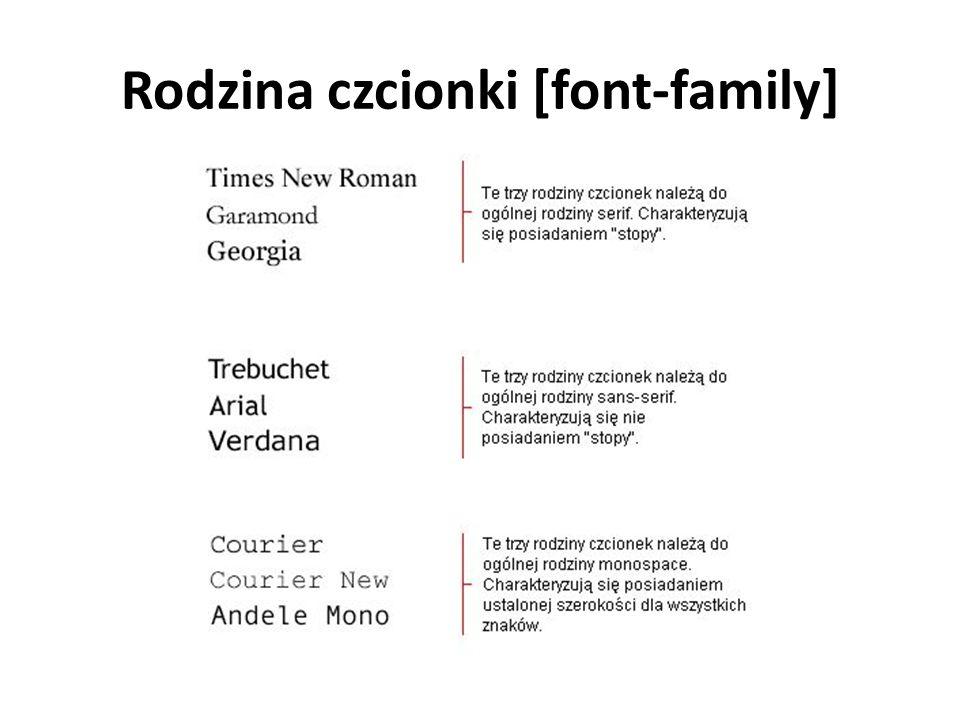Rodzina czcionki [font-family]