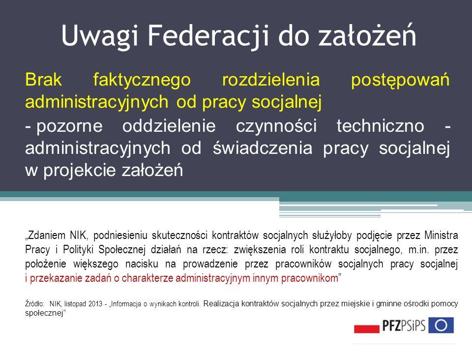 Uwagi Federacji do założeń Brak faktycznego rozdzielenia postępowań administracyjnych od pracy socjalnej - pozorne oddzielenie czynności techniczno -