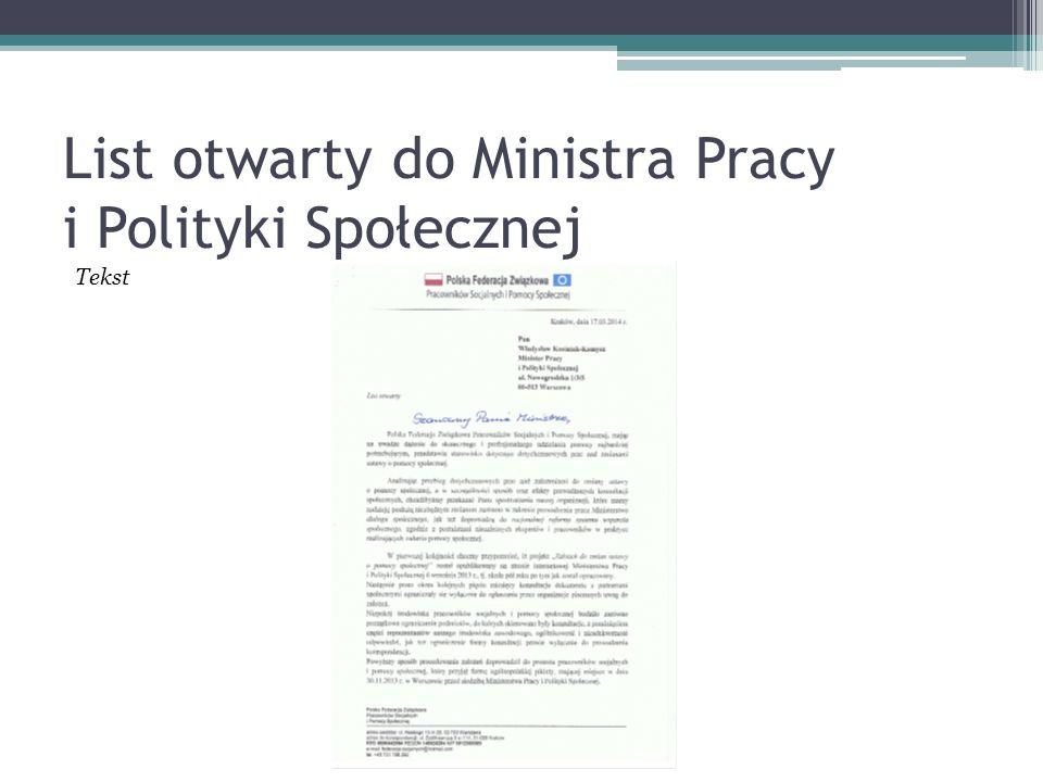 List otwarty do Ministra Pracy i Polityki Społecznej Tekst