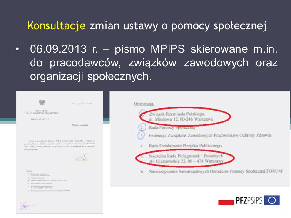 Konsultacje zmian ustawy o pomocy społecznej 06.09.2013 r. – pismo MPiPS skierowane m.in. do pracodawców, związków zawodowych oraz organizacji społecz