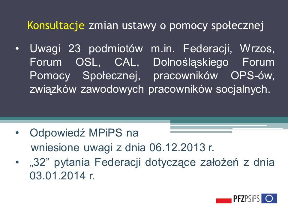 Konsultacje zmian ustawy o pomocy społecznej Uwagi 23 podmiotów m.in. Federacji, Wrzos, Forum OSL, CAL, Dolnośląskiego Forum Pomocy Społecznej, pracow