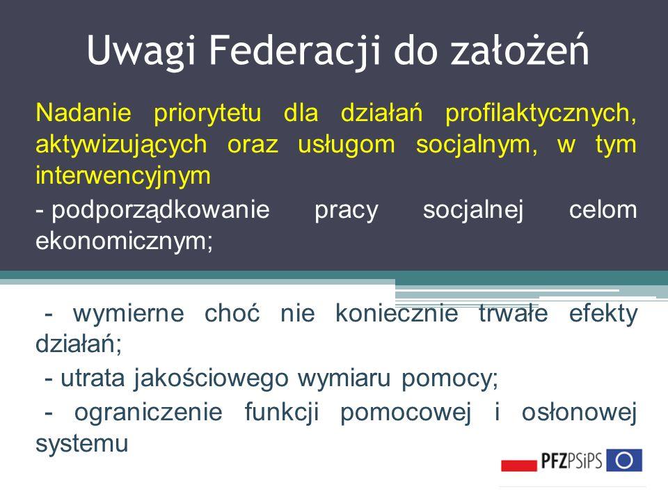 Uwagi Federacji do założeń Nadanie priorytetu dla działań profilaktycznych, aktywizujących oraz usługom socjalnym, w tym interwencyjnym - podporządkow