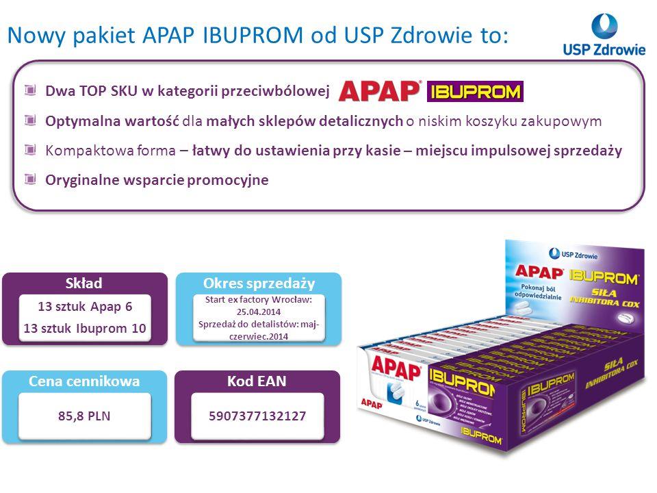 Nowy pakiet APAP IBUPROM od USP Zdrowie to: Skład 13 sztuk Apap 6 13 sztuk Ibuprom 10 Cena cennikowa 85,8 PLN Kod EAN 5907377132127 Okres sprzedaży St