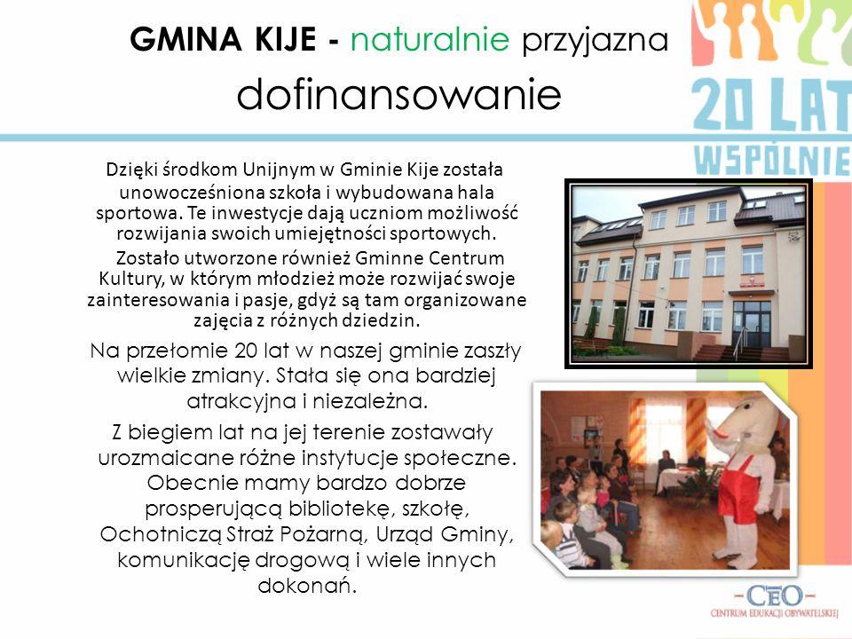 Dzięki środkom Unijnym w Gminie Kije została unowocześniona szkoła i wybudowana hala sportowa. Te inwestycje dają uczniom możliwość rozwijania swoich