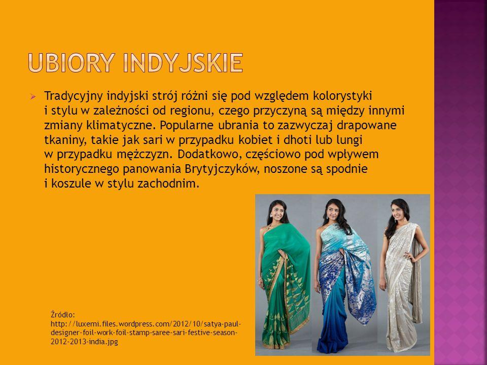Tradycyjny indyjski strój różni się pod względem kolorystyki i stylu w zależności od regionu, czego przyczyną są między innymi zmiany klimatyczne. Pop