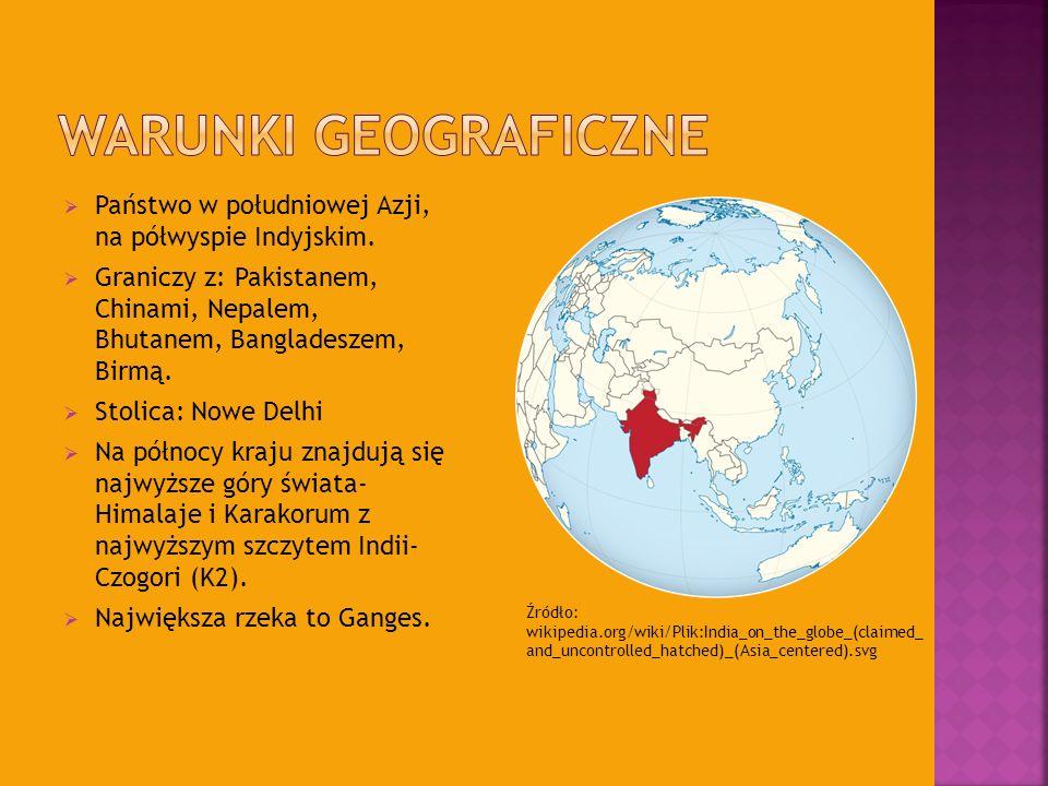 Państwo w południowej Azji, na półwyspie Indyjskim. Graniczy z: Pakistanem, Chinami, Nepalem, Bhutanem, Bangladeszem, Birmą. Stolica: Nowe Delhi Na pó