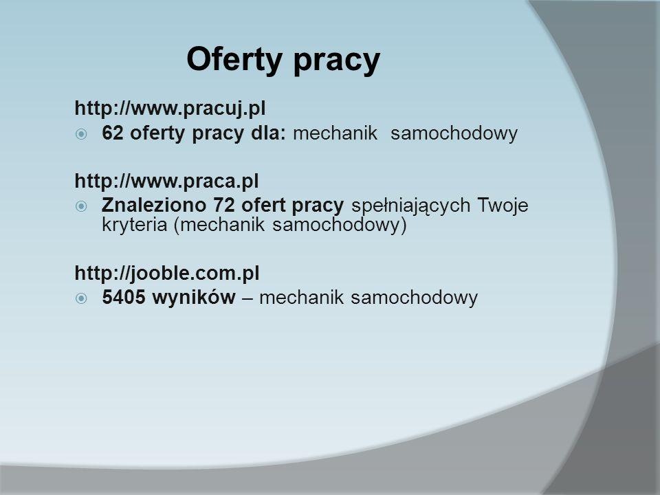 http://www.pracuj.pl 62 oferty pracy dla: mechanik samochodowy http://www.praca.pl Znaleziono 72 ofert pracy spełniających Twoje kryteria (mechanik sa