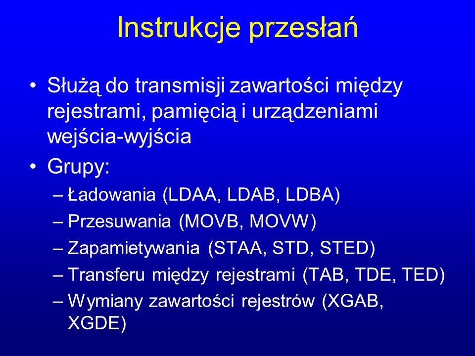 Instrukcje przesłań Służą do transmisji zawartości między rejestrami, pamięcią i urządzeniami wejścia-wyjścia Grupy: –Ładowania (LDAA, LDAB, LDBA) –Pr