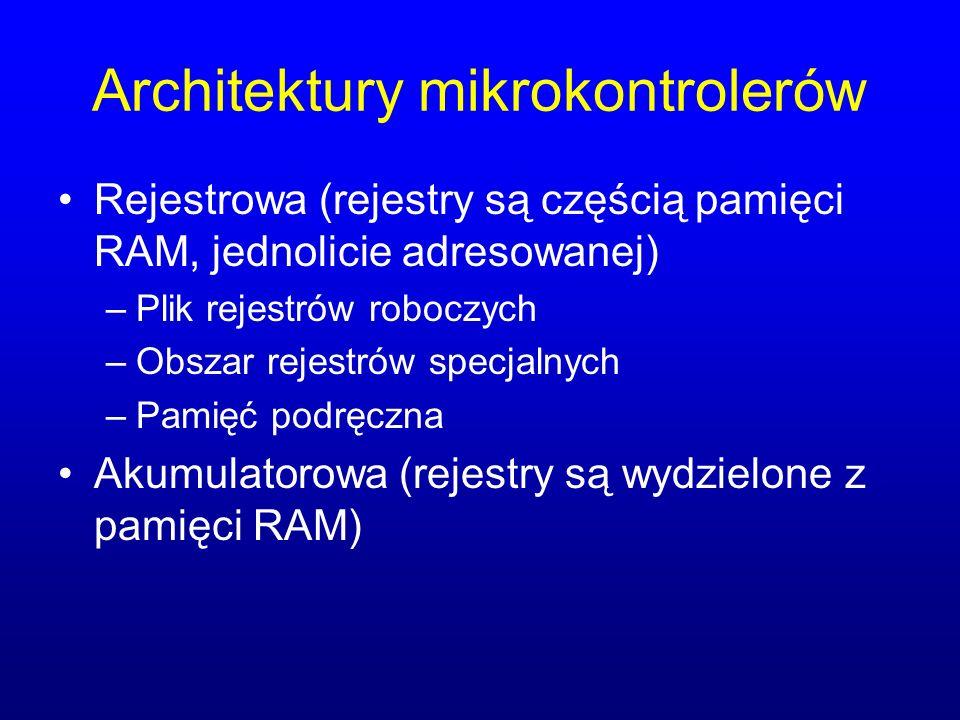 Architektury mikrokontrolerów Rejestrowa (rejestry są częścią pamięci RAM, jednolicie adresowanej) –Plik rejestrów roboczych –Obszar rejestrów specjal