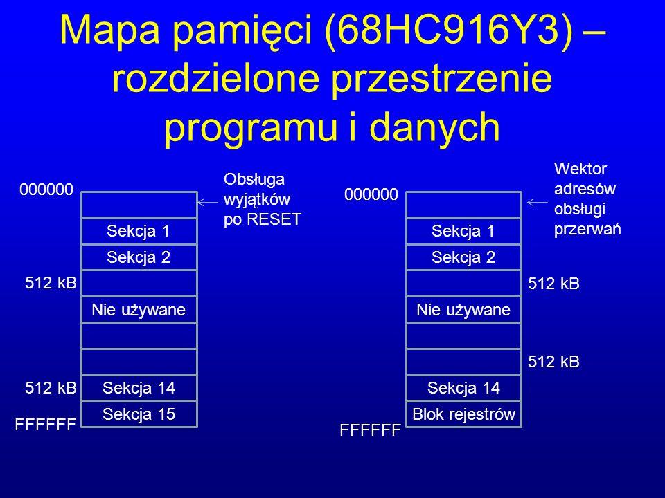 Mapa pamięci (68HC916Y3) – rozdzielone przestrzenie programu i danych Sekcja 1 Sekcja 2 Nie używane Sekcja 14 Sekcja 15 Sekcja 1 Sekcja 2 Nie używane