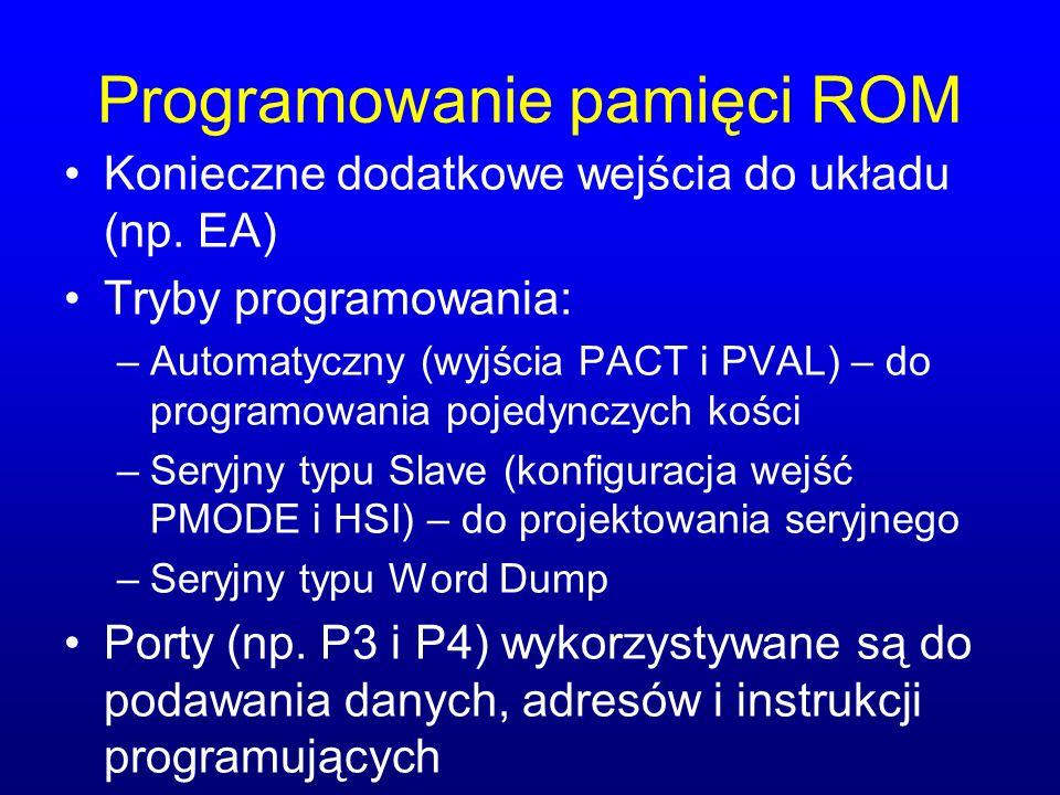 Programowanie pamięci ROM Konieczne dodatkowe wejścia do układu (np. EA) Tryby programowania: –Automatyczny (wyjścia PACT i PVAL) – do programowania p