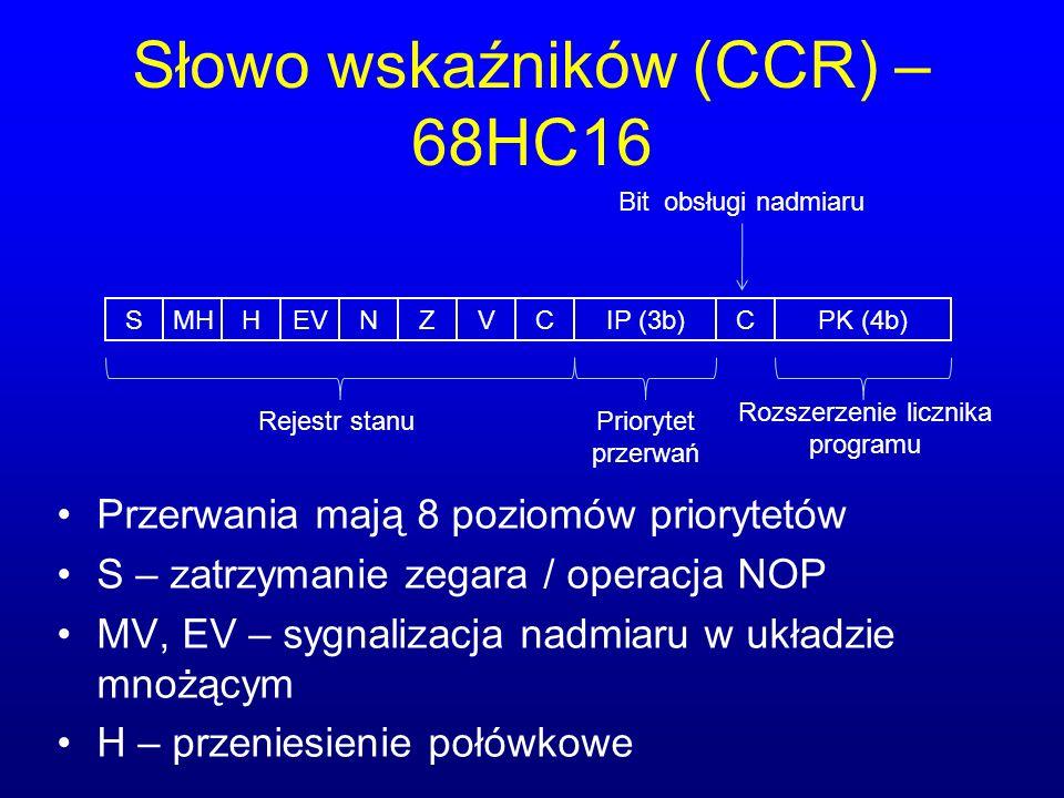 Słowo wskaźników (CCR) – 68HC16 SMHHEVNZVCCIP (3b)PK (4b) Rejestr stanuPriorytet przerwań Rozszerzenie licznika programu Bit obsługi nadmiaru Przerwan