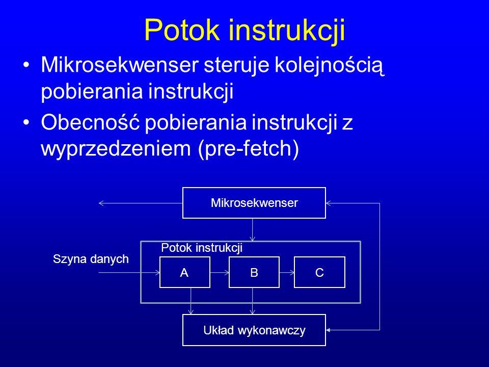 Potok instrukcji Mikrosekwenser steruje kolejnością pobierania instrukcji Obecność pobierania instrukcji z wyprzedzeniem (pre-fetch) Mikrosekwenser AC