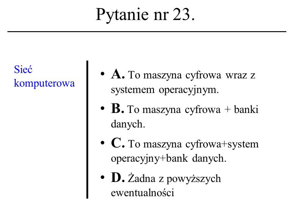 Pytanie nr 22. Adres pocz- towy w komunikacji elektronicz- nej zawierać musi: A.