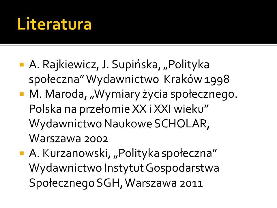 A. Rajkiewicz, J. Supińska, Polityka społeczna Wydawnictwo Kraków 1998 M. Maroda, Wymiary życia społecznego. Polska na przełomie XX i XXI wieku Wydawn