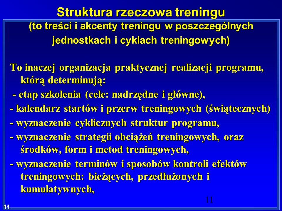 11 11 Struktura rzeczowa treningu (to treści i akcenty treningu w poszczególnych jednostkach i cyklach treningowych) To inaczej organizacja praktyczne