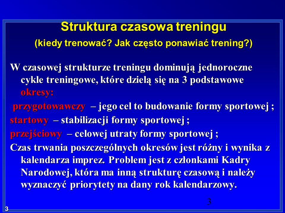 3 3 Struktura czasowa treningu (kiedy trenować? Jak często ponawiać trening?) W czasowej strukturze treningu dominują jednoroczne cykle treningowe, kt