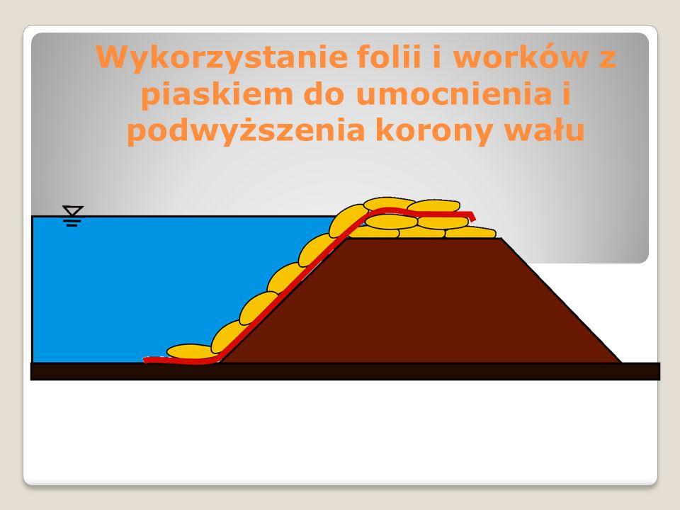 Wykorzystanie folii i worków z piaskiem do umocnienia i podwyższenia korony wału