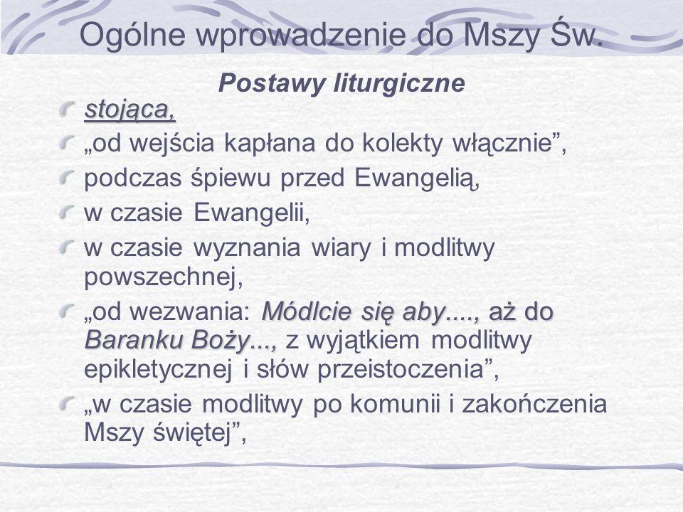 Ogólne wprowadzenie do Mszy Św. Postawy liturgicznestojąca, od wejścia kapłana do kolekty włącznie, podczas śpiewu przed Ewangelią, w czasie Ewangelii