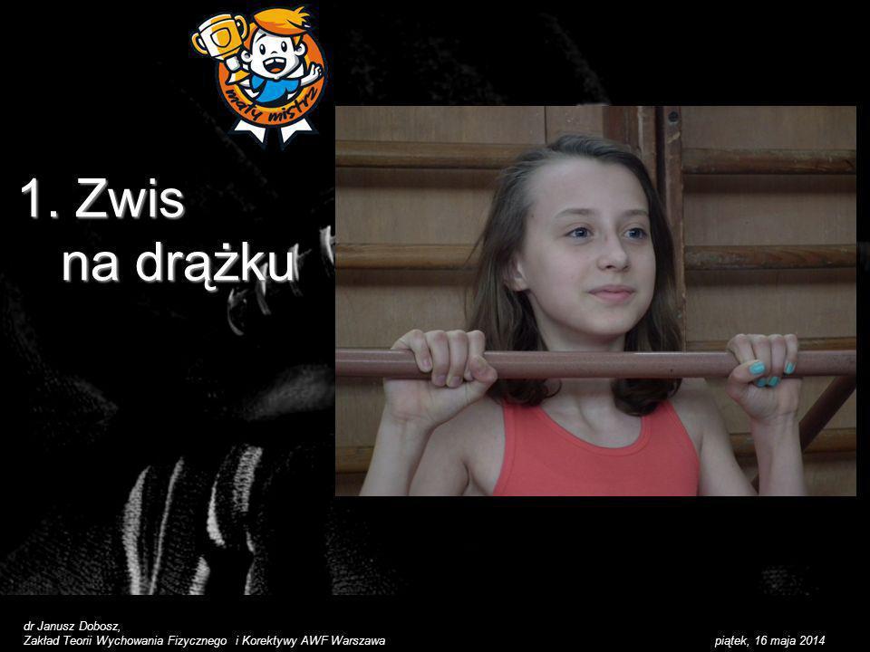 piątek, 16 maja 2014 1. Zwis na drążku dr Janusz Dobosz, Zakład Teorii Wychowania Fizycznego i Korektywy AWF Warszawa