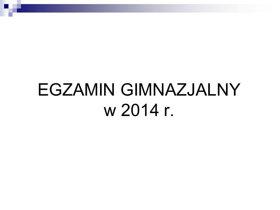 EGZAMIN GIMNAZJALNY w 2014 r.
