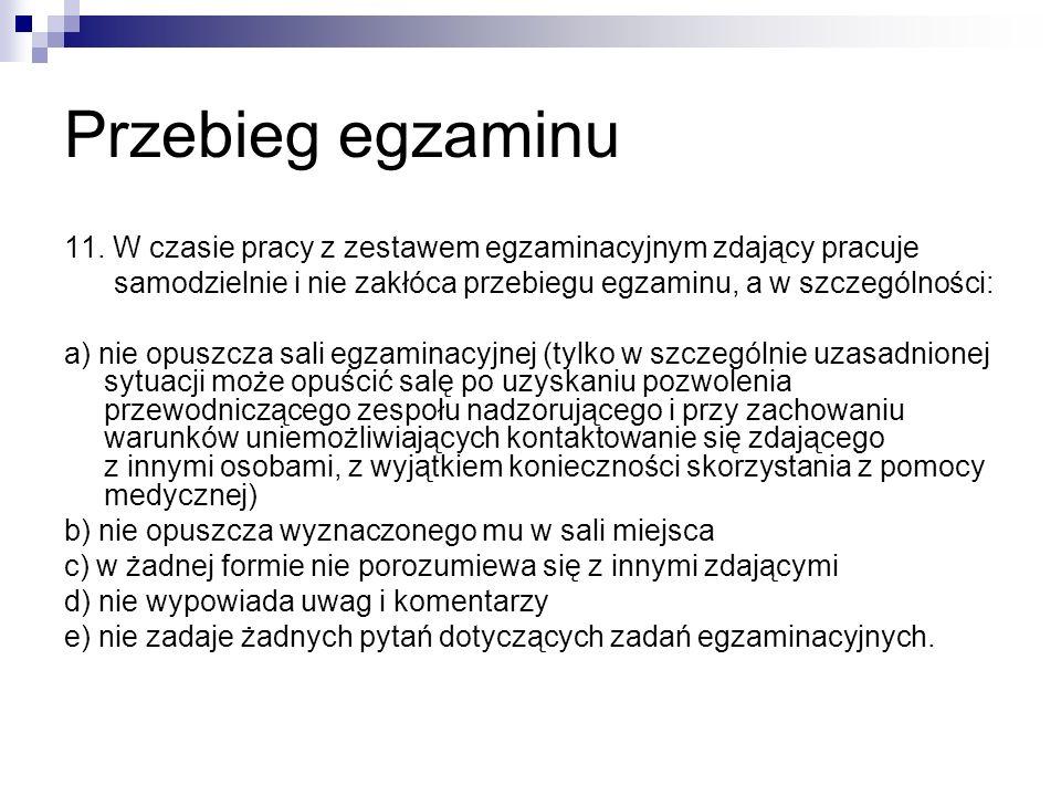 Przebieg egzaminu 11.