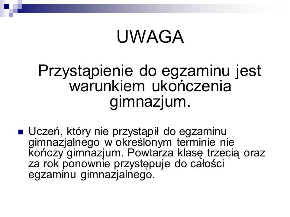 UWAGA Przystąpienie do egzaminu jest warunkiem ukończenia gimnazjum.
