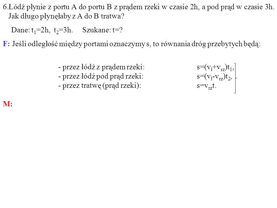 6.Łódź płynie z portu A do portu B z prądem rzeki w czasie 2h, a pod prąd w czasie 3h. Jak długo płynęłaby z A do B tratwa? Dane: t 1 =2h, t 2 =3h. Sz
