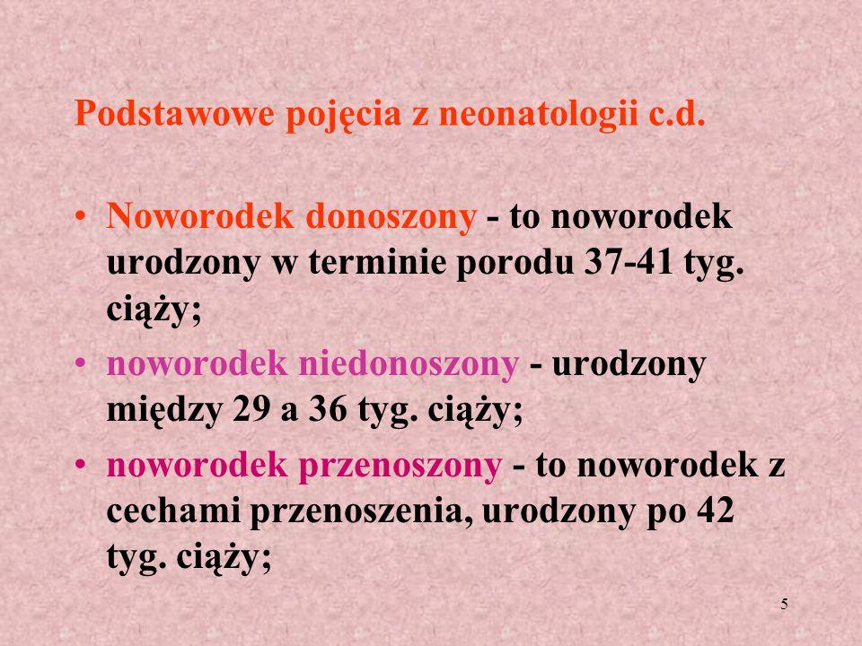 5 Podstawowe pojęcia z neonatologii c.d. Noworodek donoszony - to noworodek urodzony w terminie porodu 37-41 tyg. ciąży; noworodek niedonoszony - urod