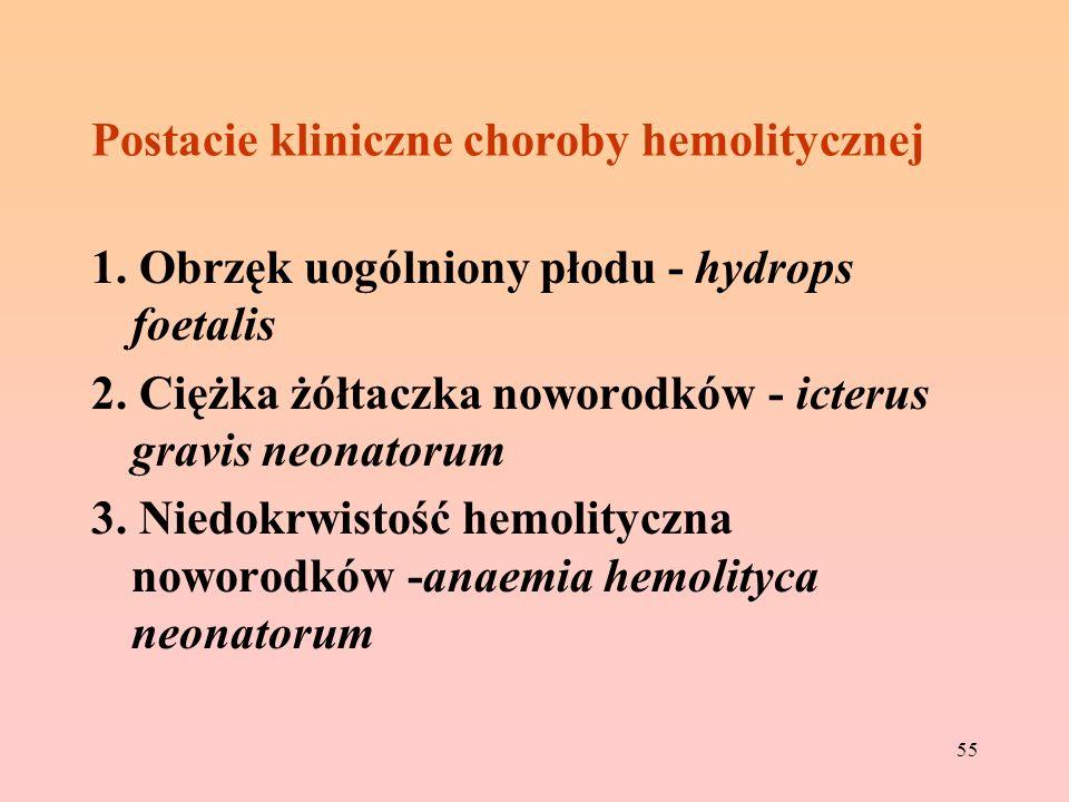 55 Postacie kliniczne choroby hemolitycznej 1. Obrzęk uogólniony płodu - hydrops foetalis 2. Ciężka żółtaczka noworodków - icterus gravis neonatorum 3