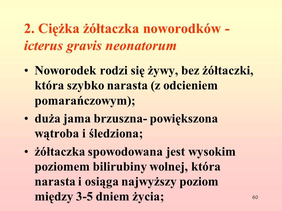60 2. Ciężka żółtaczka noworodków - icterus gravis neonatorum Noworodek rodzi się żywy, bez żółtaczki, która szybko narasta (z odcieniem pomarańczowym