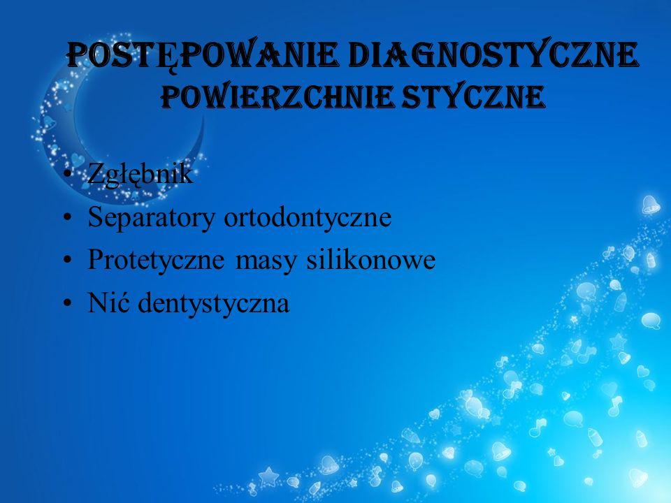 POST Ę POWANIE DIAGNOSTYCZNE powierzchnie styczne Zgłębnik Separatory ortodontyczne Protetyczne masy silikonowe Nić dentystyczna