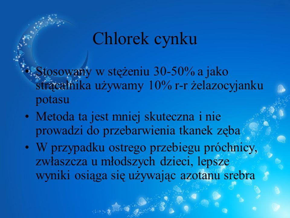 Chlorek cynku Stosowany w stężeniu 30-50% a jako strącalnika używamy 10% r-r żelazocyjanku potasu Metoda ta jest mniej skuteczna i nie prowadzi do prz