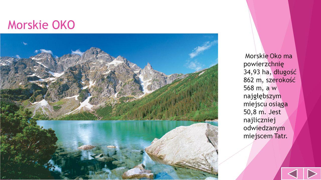 Morskie OKO Morskie Oko ma powierzchnię 34,93 ha, długość 862 m, szerokość 568 m, a w najgłębszym miejscu osiąga 50,8 m. Jest najliczniej odwiedzanym