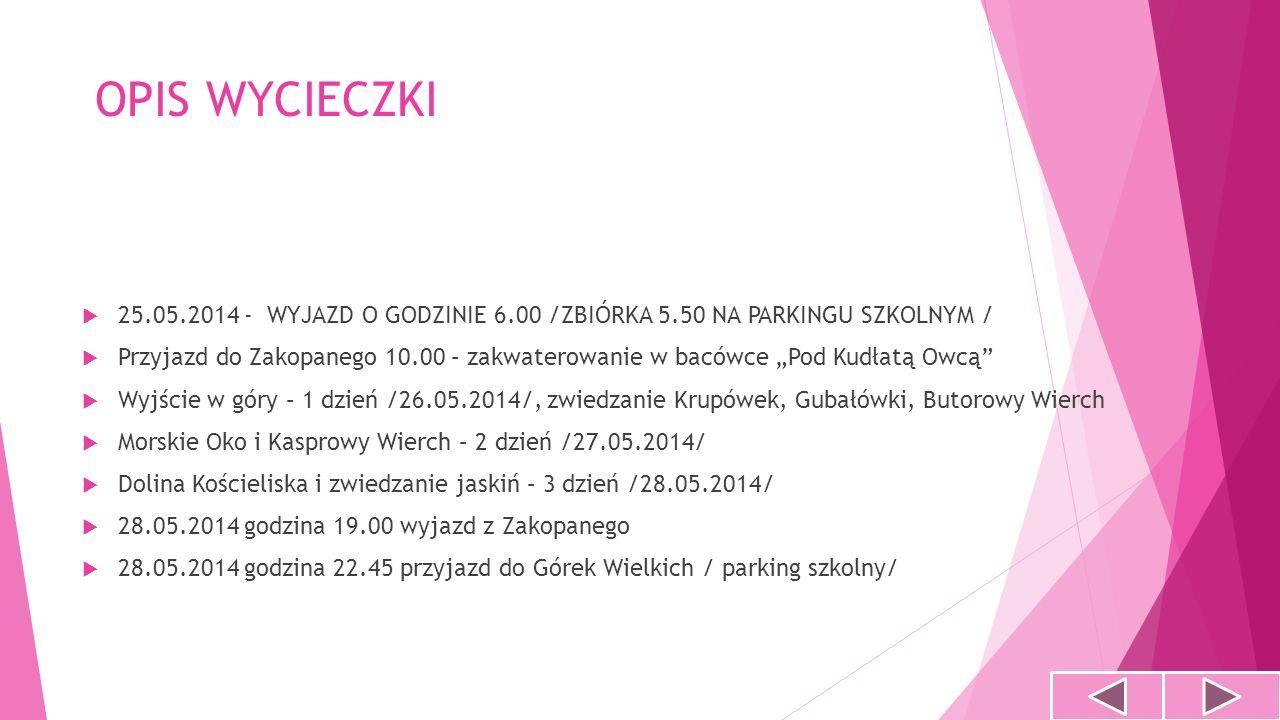 Pierwszy dzień wycieczki 25.05.2014 Godz.