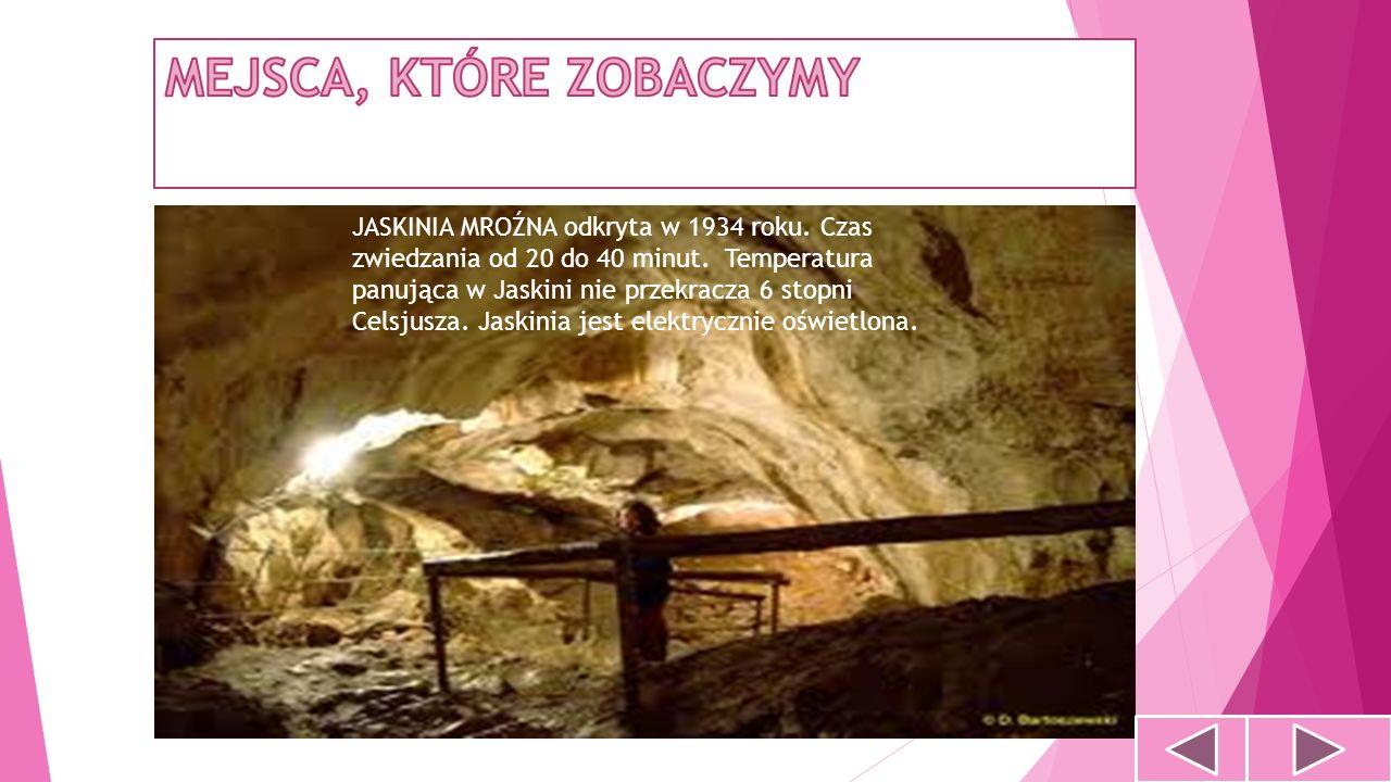 JASKINIA MROŹNA odkryta w 1934 roku. Czas zwiedzania od 20 do 40 minut. Temperatura panująca w Jaskini nie przekracza 6 stopni Celsjusza. Jaskinia jes
