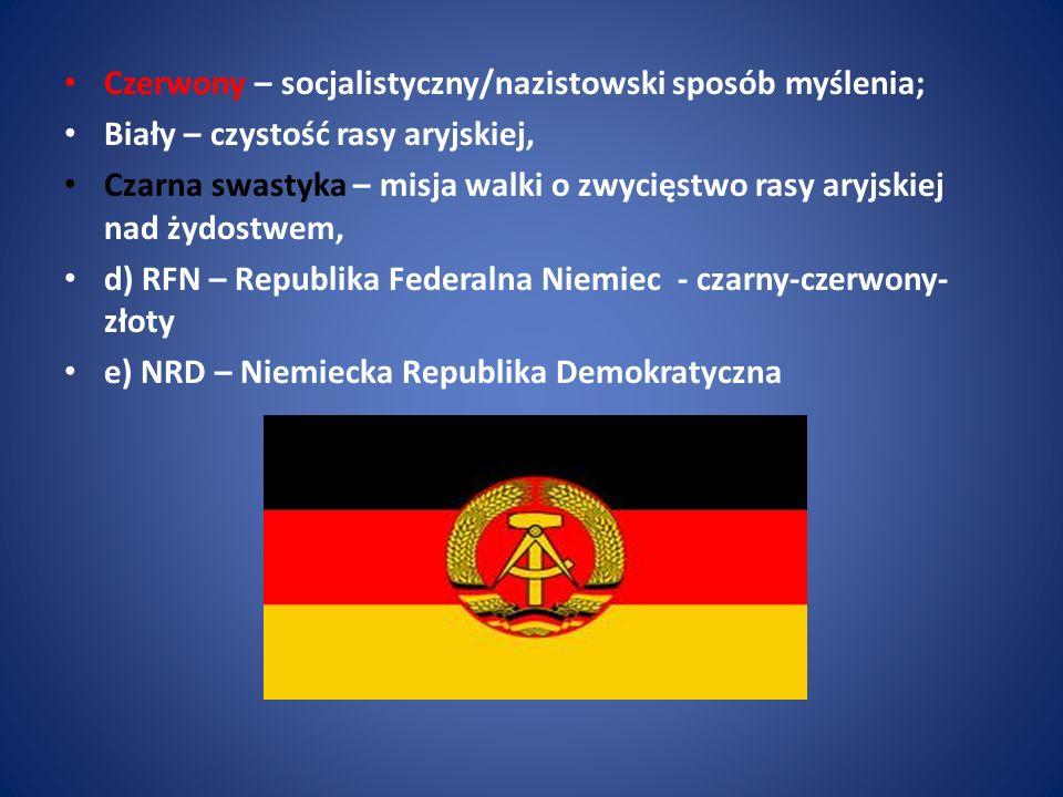 Czerwony – socjalistyczny/nazistowski sposób myślenia; Biały – czystość rasy aryjskiej, Czarna swastyka – misja walki o zwycięstwo rasy aryjskiej nad
