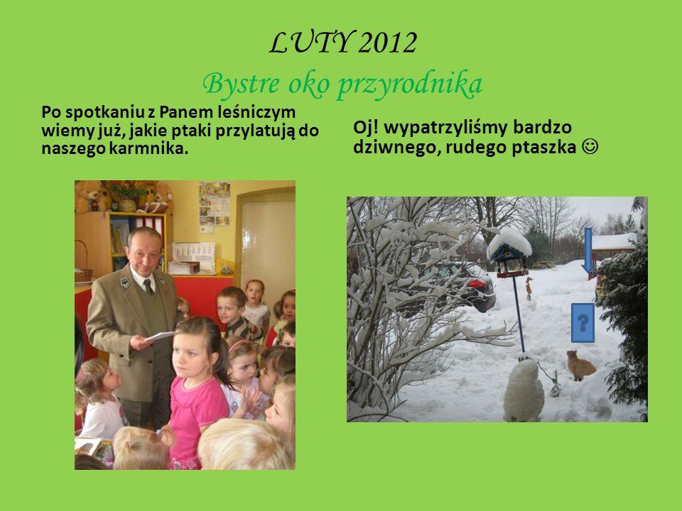 MARZEC 2012 Ogród wiosną- obserwowanie budek lęgowych szpaków i sikorek w ogrodzie przedszkolnym.