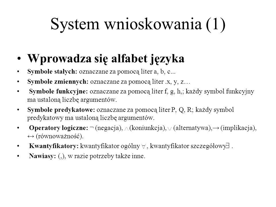 Wprowadza się alfabet języka Symbole stałych: oznaczane za pomocą liter a, b, c... Symbole zmiennych: oznaczane za pomocą liter.x, y, z… Symbole funkc