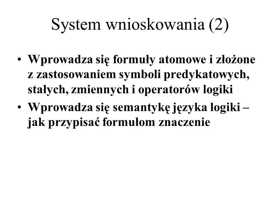 Wprowadza się formuły atomowe i złożone z zastosowaniem symboli predykatowych, stałych, zmiennych i operatorów logiki Wprowadza się semantykę języka l