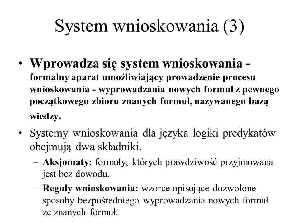 Wprowadza się system wnioskowania - formalny aparat umożliwiający prowadzenie procesu wnioskowania - wyprowadzania nowych formuł z pewnego początkoweg