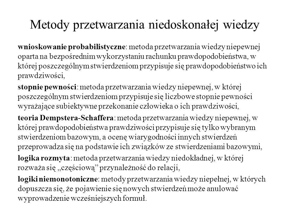 wnioskowanie probabilistyczne: metoda przetwarzania wiedzy niepewnej oparta na bezpośrednim wykorzystaniu rachunku prawdopodobieństwa, w której poszcz