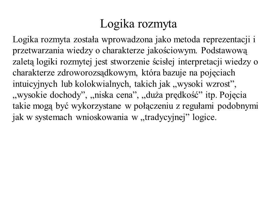 Logika rozmyta Logika rozmyta została wprowadzona jako metoda reprezentacji i przetwarzania wiedzy o charakterze jakościowym. Podstawową zaletą logiki