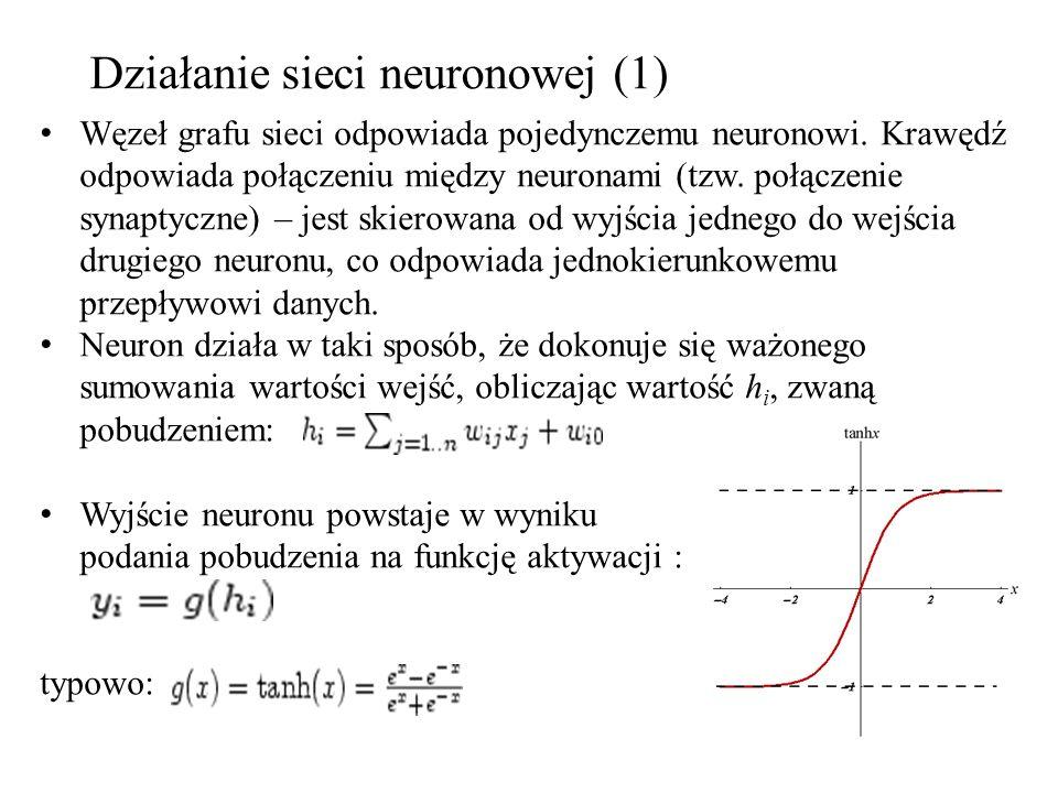 Działanie sieci neuronowej (1) Węzeł grafu sieci odpowiada pojedynczemu neuronowi. Krawędź odpowiada połączeniu między neuronami (tzw. połączenie syna