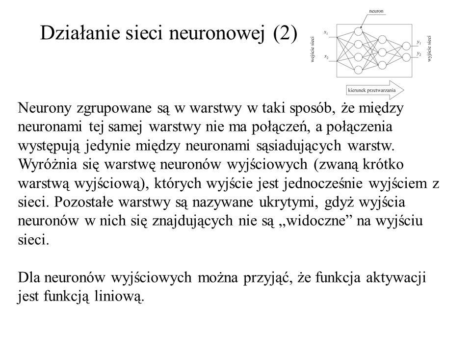 Działanie sieci neuronowej (2) Neurony zgrupowane są w warstwy w taki sposób, że między neuronami tej samej warstwy nie ma połączeń, a połączenia wyst
