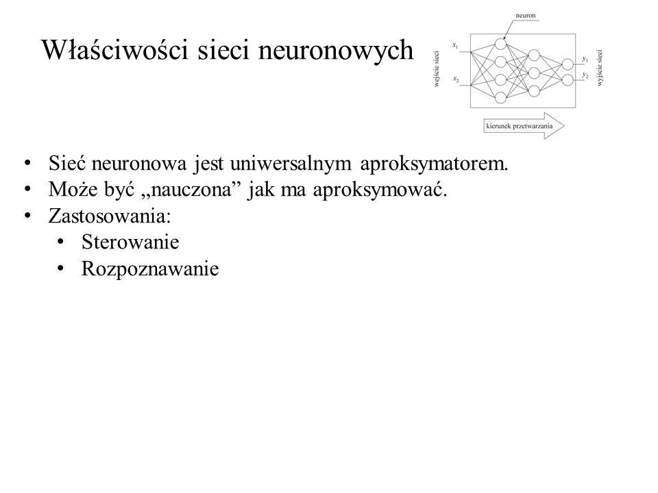 Właściwości sieci neuronowych Sieć neuronowa jest uniwersalnym aproksymatorem. Może być nauczona jak ma aproksymować. Zastosowania: Sterowanie Rozpozn