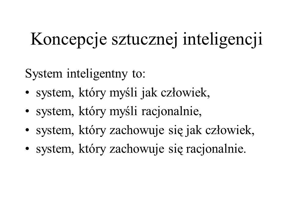 Koncepcje sztucznej inteligencji System inteligentny to: system, który myśli jak człowiek, system, który myśli racjonalnie, system, który zachowuje si