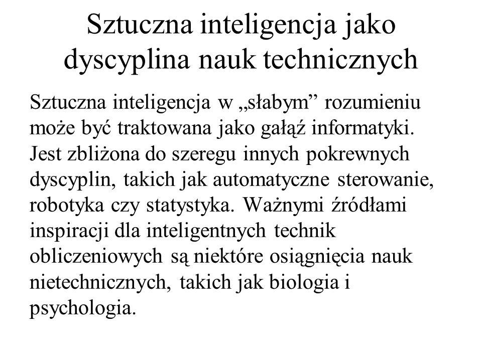 Sztuczna inteligencja w słabym rozumieniu może być traktowana jako gałąź informatyki. Jest zbliżona do szeregu innych pokrewnych dyscyplin, takich jak