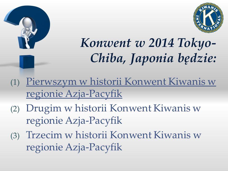 Konwent w 2014 Tokyo- Chiba, Japonia będzie: (1) Pierwszym w historii Konwent Kiwanis w regionie Azja-Pacyfik (2) Drugim w historii Konwent Kiwanis w regionie Azja-Pacyfik (3) Trzecim w historii Konwent Kiwanis w regionie Azja-Pacyfik
